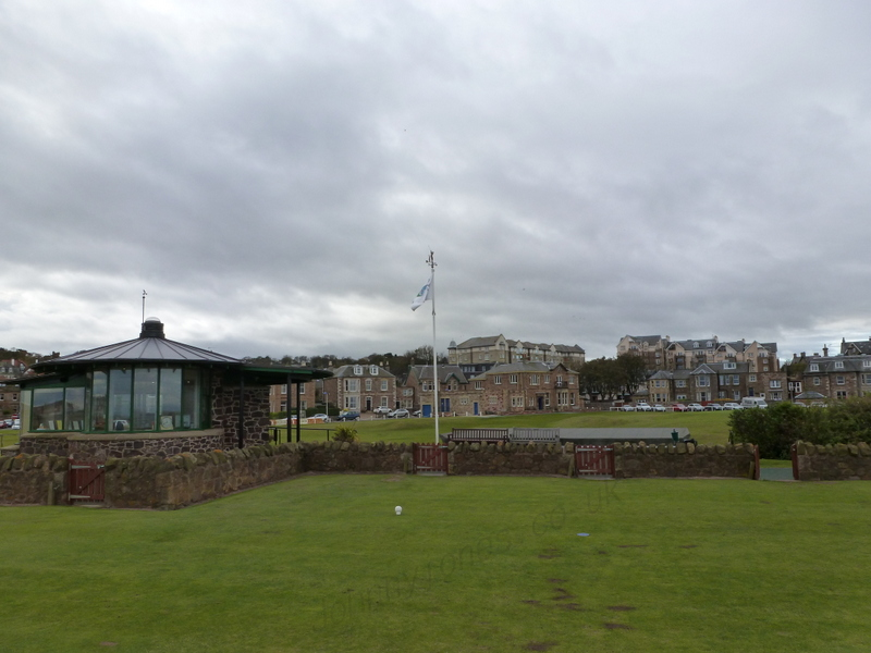 The clubhouse and starters box from the 1st tee (Chapters 14 & 15)